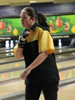 Sycamore's Paige Weitz shows great determination in her match at Eastgate Lanes Dec. 7.