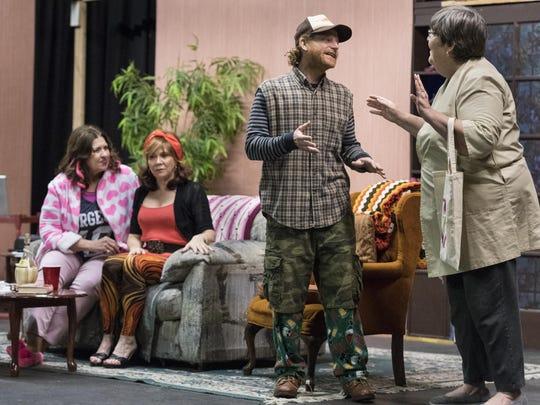 "Pat Jansen, right, Aaron Johnson, Susan Matthews and Marla Albertstein rehearse for Visalia Players' production of ""Doublewide, Texas"" on Tuesday, January 3, 2017."