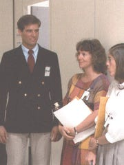 Vellinger with Christa McAuliffe and Barbara Morgan, McAuliffe's back up. Morgan, then a teacher, would later become an astronaut.