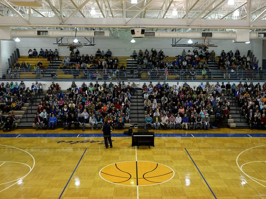 A community prayer service was held at Chester County High School on Wednesday to pray for Noah Chamberlin and all involved with the search to find him. Chamberlin has been missing since Jan. 14.