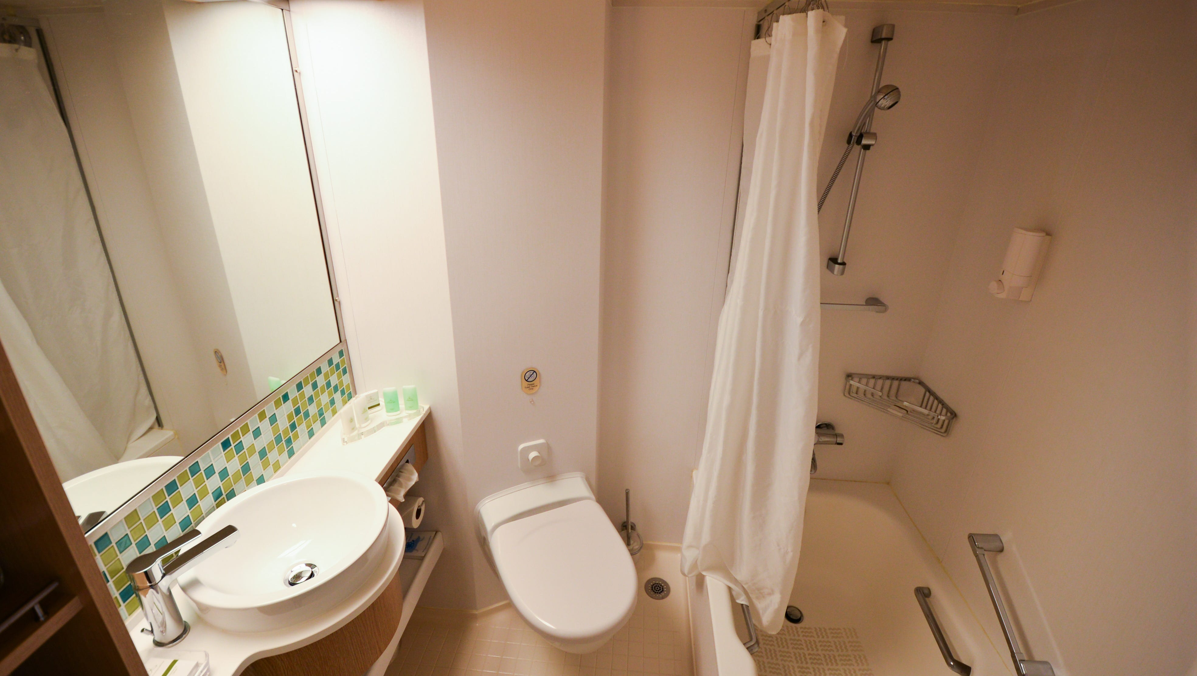 Junior suite bathrooms include bathtubs, which aren't found in standard Ocean View cabins.