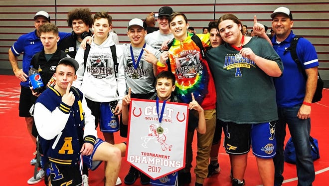 Anderson High School's wrestling team won the tournament championship last weekend at the Colt Invitational at El Camino High School in South San Francisco.