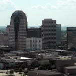 Shreveport skyline with a view of the Barnwell Center and riverfront from Horseshoe Hotel and Casino in Bossier City.