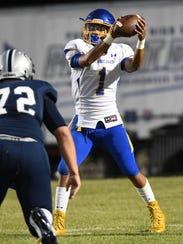 Wren junior Tyrell Jackson (1) takes a snap near Powdersville