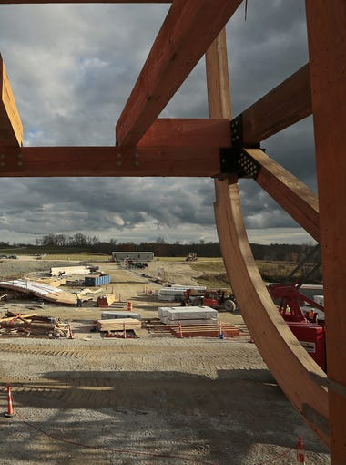 Construction continues on a scale model of Noah's Ark at the Ark Encounter attraction in Williamstown, Ky., on Wednesday, Nov. 4, 2015. The Ark Encounter is currently working toward raising $24.5 million to fund the project and expects to attract more than 1 million guests per year. Regular admission tickets are planned to cost $40 each. Once finished, the Ark replica will be the largest timber-framed structure in the country.