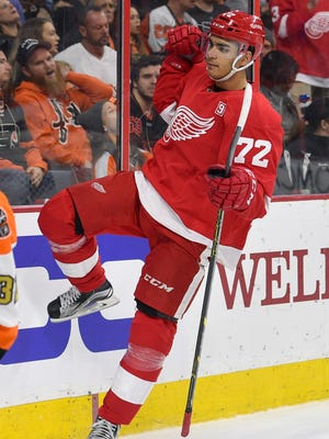 Detroit Red Wings forward Andreas Athanasiou celebrates after scoring against the Philadelphia Flyers on Nov. 2, 2016, in Philadelphia.