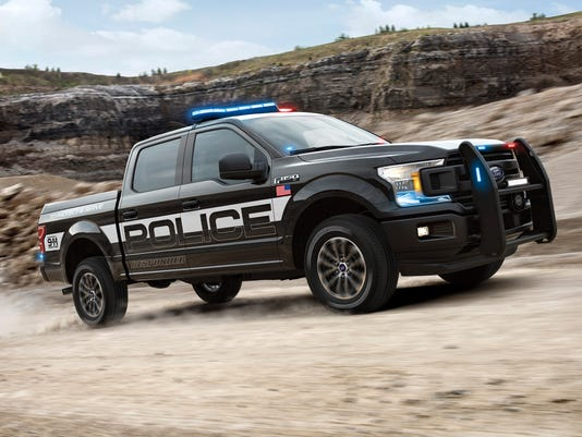 police version of f 150 pickup overpowers dodge and chevy police cars
