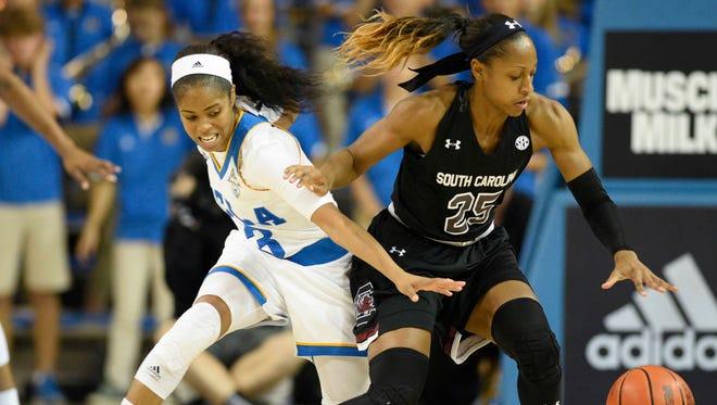All-America Tiffany Mitchell, right, had 17 points Sunday in No. 2 South Carolina's 68-65 win at UCLA.
