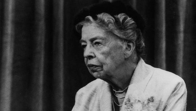 Eleanor Roosevelt appears on the NBC Television show Meet the Press on Oct. 10, 1957. Mrs. Roosevelt appeared on the show six times after her husband's death in 1945.