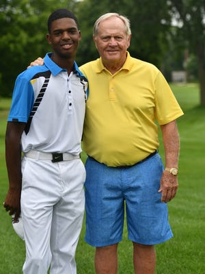 Salem golfer Bryce Henderson (left) got to know legendary pro golfer Jack Nicklaus (right) at the Turning Point Invitational in Detroit.