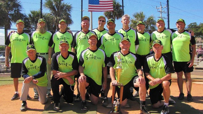 The Speakeasy Island Division tournament championship team, from left, standing: Larry Anspach, Dan Marinelli, Jerry Engel, Bob Williams, Bob Grant, Tom Angelo, Michael Shone, Rod Lashley, Tom Buettner and Bruce Chambers. Kneeling: John Remhoff, Andre Paquette, Dave Johnson, Mgr. Ray Kane and Mike Puskar.