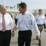 Former New York City Mayor Rudy Giuliani tours the Hawkeye Renewables ethanol plant in Fairbank with then-CEO Bruce Rastetter in July 2007 during Giuliani's presidential bid. Demand for ethanol was soaring at the time, and support for ethanol among the presidential candidates was nearly unanimous.