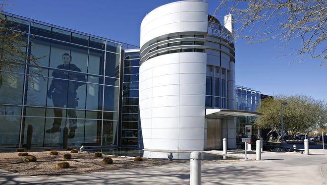 The Axon facility in Scottsdale features larger-than-life images of law-enforcement officers.