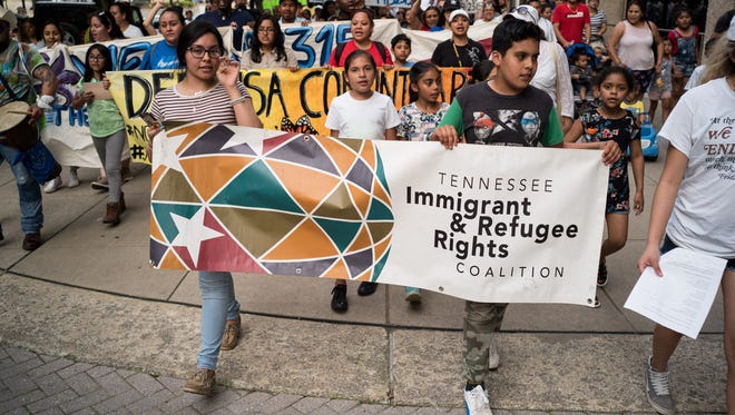 Demonstrators march in Nashville, Tenn., earlier this week, protesting a bill that would ban sanctuary cities and require local law enforcement to detain some immigrants.