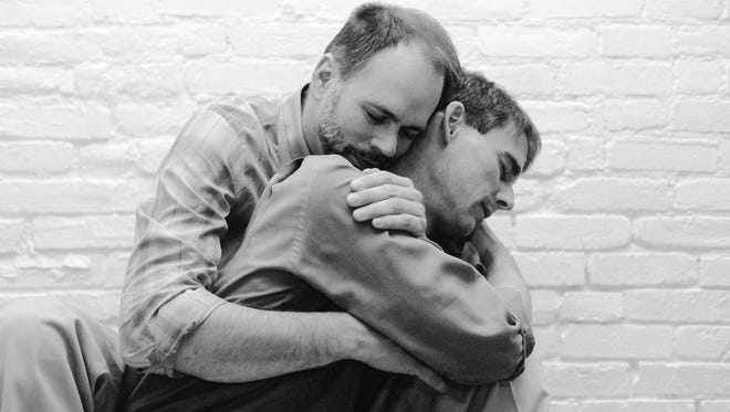 """Mark Wright and Michael Hendren in 1988, both in the early stages of HIV/AIDS, asked Mark A. Lee to take their photo while they were """"still young and fairly healthy."""" Wright died in January 1994, and Hendren died in December 1994."""