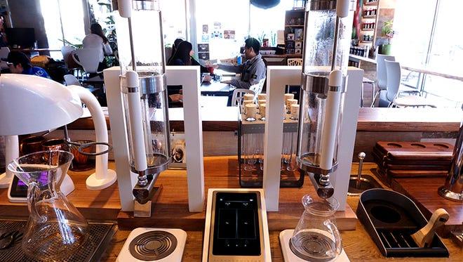 New coffee machines at Kudo Society Cafe.