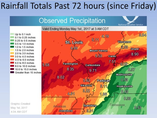 Rainfall totals from Friday night, April 28, through