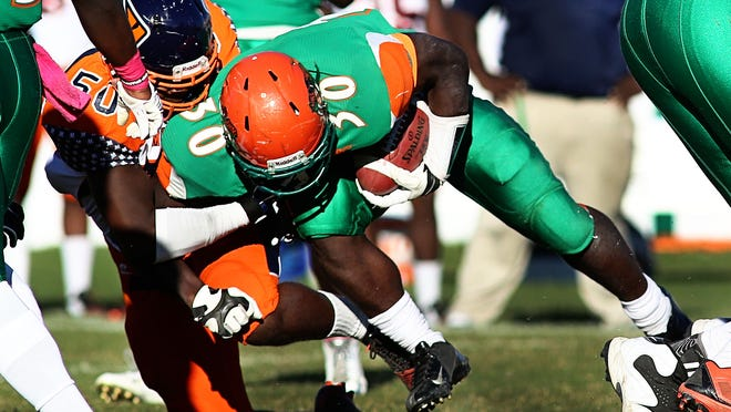 Freshman running back Gerald Hearns rushed for 100 yards in FAMU 24-9 loss on Saturday.