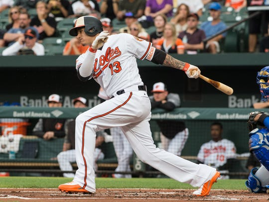 Orioles' Manny Machado (13) at bat during a game against
