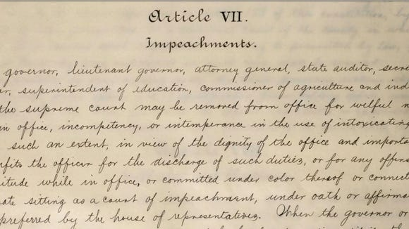 A manuscript copy of the 1901 Alabama Constitution's section on impeachments.