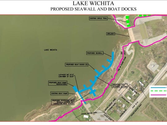 A map of proposed sea wall and boat docks for Lake Wichita.