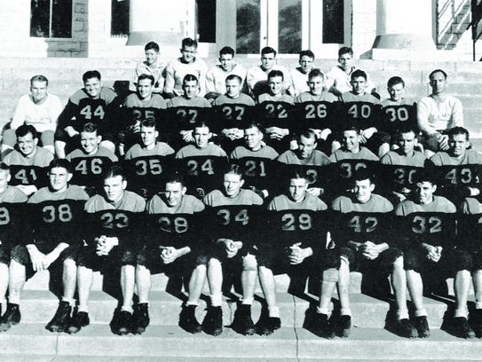 The Texas Wesleyan football from the 1935-36 poses