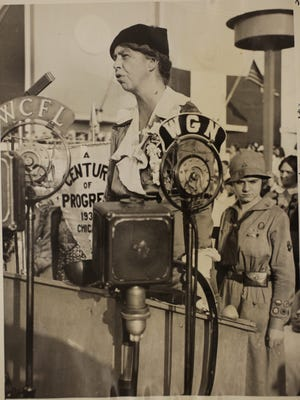 Eleanor Roosevelt speaks on Women's Day at the Chicago World's Fair in 1933.