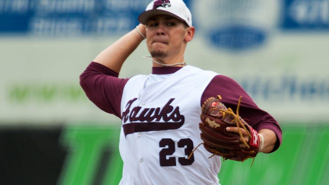 UMES starting pitcher Jesse Stinnett (23) throws against Savannah St in the opening round of the MEAC Tournament at Arthur W Perdue Stadium.