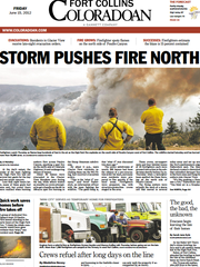 A Coloradoan front page during the High Park Fire in June, 2012. Jeff Gillespie is pictured in the middle.