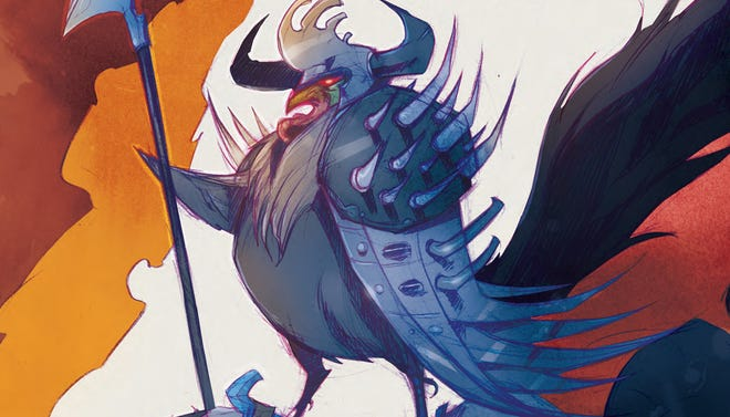 """""""Warrior Chicken Poyo"""" pits the """"Chew"""" cybernetic chicken vs. all manner of fantasy tropes."""