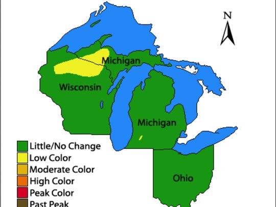 Very little fall color so far in Michigan.