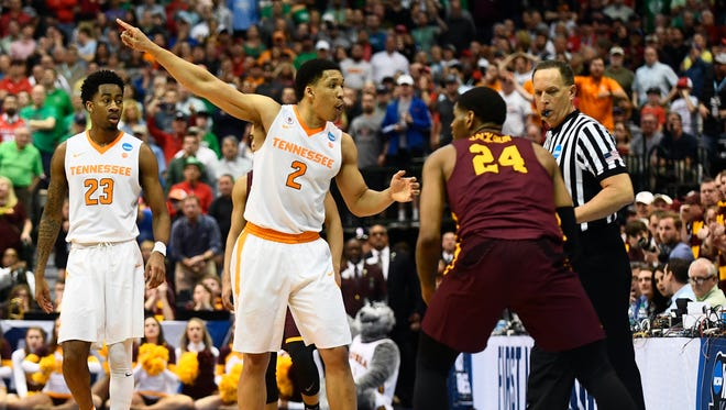 Tennessee forward Grant Williams (2) argues for a call during the NCAA tournament against Loyola Chicago last season.
