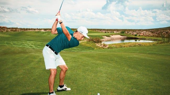 "Patrick Montelongo drives on Red Hawk Golf Club's 18th hole during the Burger Time ""Sandra B. McGrath"" Golf Tournament in 2016."
