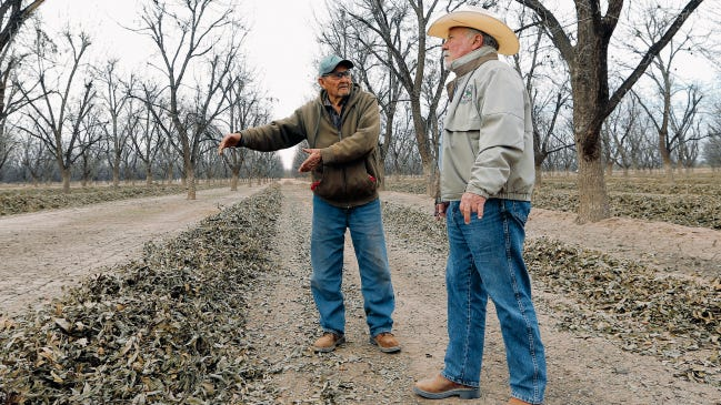 Art Ivy, right, owner of Rio Bravo Farm, talks with his longtime employee Julian Macias in 2014. The irrigation season this year begins April 1.