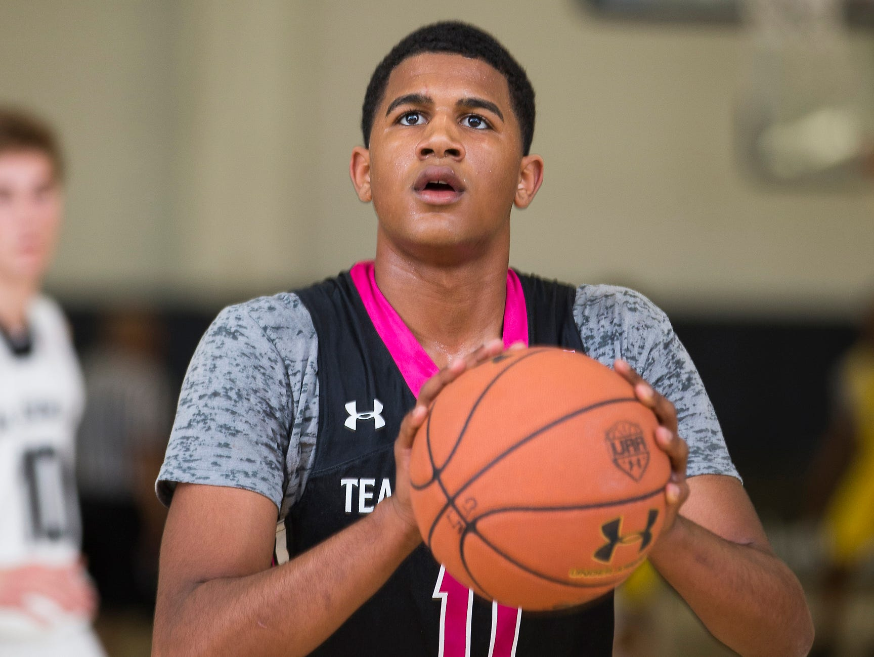 LJ Figueroa at the Under Armour Association's AAU session in New York.