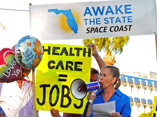 Amy Tidd, seen here speaking at a rally, writes she will vote for Joe Biden in the Florida presidential primary on March 17.