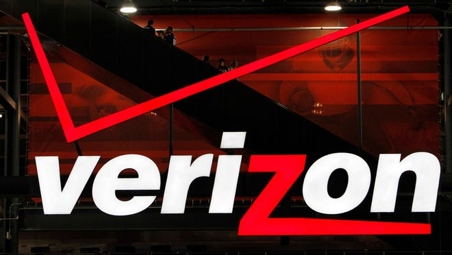 In file photo taken Aug. 21, 2010, a Verizon sign is shown at New Meadowlands Stadium in East Rutherford, N.J.