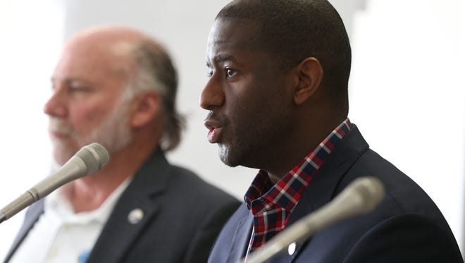 Mayor Andrew Gillum speaks at the city's annual retreat, held at the Tallahassee International Airport, where goals were outlined for the year ahead on Wednesday, Jan. 11, 2017.