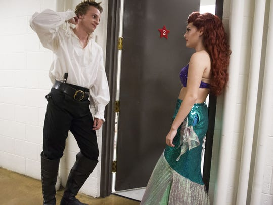 Nathan Sheppard (left), who plays Prince Eric, chats
