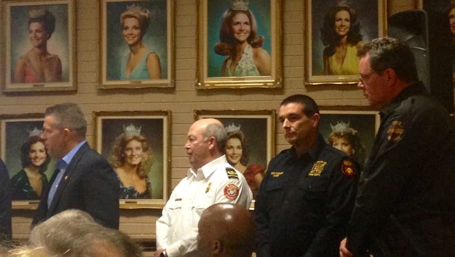 Jackson Police Chief Julian Wiser, Jackson Fire Chief Max Stewart, Madison County Fire Chief Eric Truner and Tennessee Highway Patrol Lt. Brad Wilbanks stood to be recognized at Thursday's Blue Strong organizational meeting.