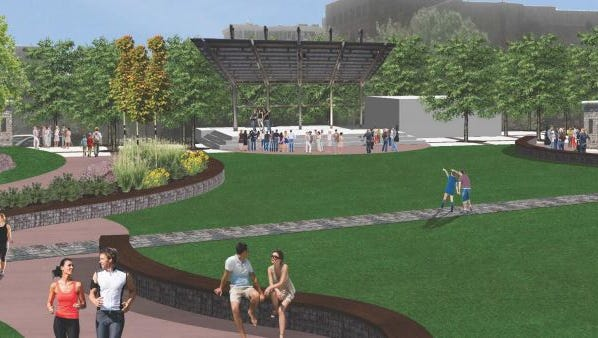 An outdoor music venue planned at Falls Park West will offer at least 50 free, professional quality concerts each year.