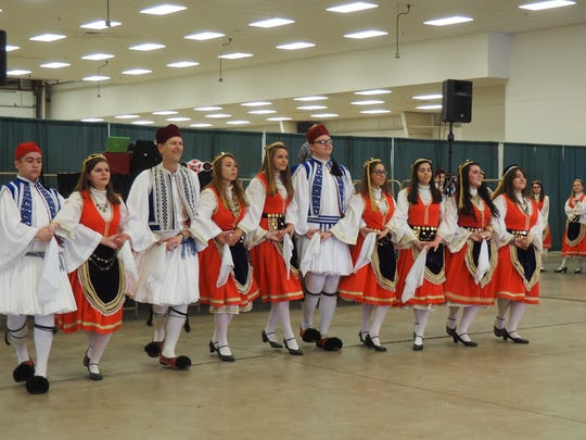The Dorian Greek Dance Troupe from St. Constantine and Helen Greek Orthodox Church in Milwaukee perform at Greek Fest in Fond du Lac Sunday.