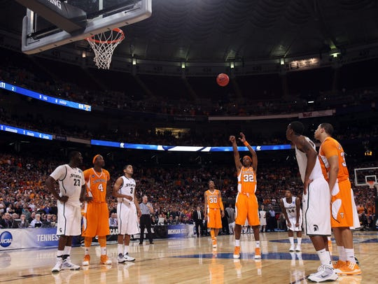 Tennessee's Scotty Hopson shoots a free throw with 11 seconds on the clock during the game against Michigan State on March 28, 2010. Hopson sank the first free throw to tie the game at 69-69 but missed his second attempt. It was the closest Tennessee has ever gotten to the Final Four.