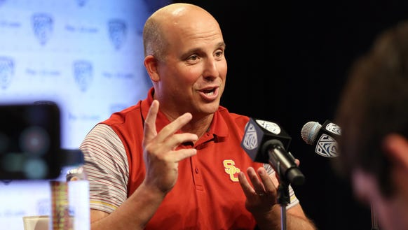 USC head coach Clay Helton talks about 'juggling' several
