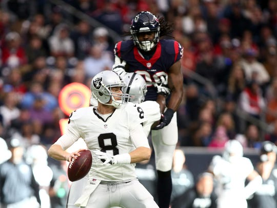 Former Michigan State quarterback Connor Cook made his first and only start for the Oakland Raiders last season in a playoff loss to the Houston Texans.