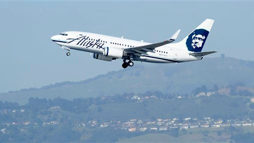 An Alaska Airlines plane departs from Oakland International Airport as shown in a file photo