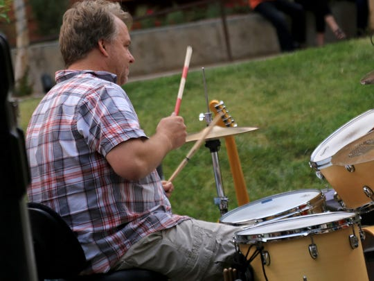 Gordon Strang performs with Bean and Wheels during the Ancestor Square Spring Concert Series in St. George.
