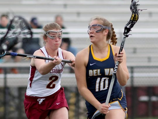 Delaware Valley's Liz Bill (10) looks to score as she is defended by Hillsborough's Olivia Buckman on Thursday at Hillsborough.