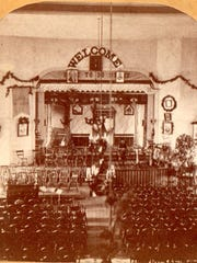 The interior of the Red Ribbon Hall in 1879 in Eaton Rapids. About 1,600 men signed a pledge to not drink excessively its first year and wore little red ribbons on their lapels.