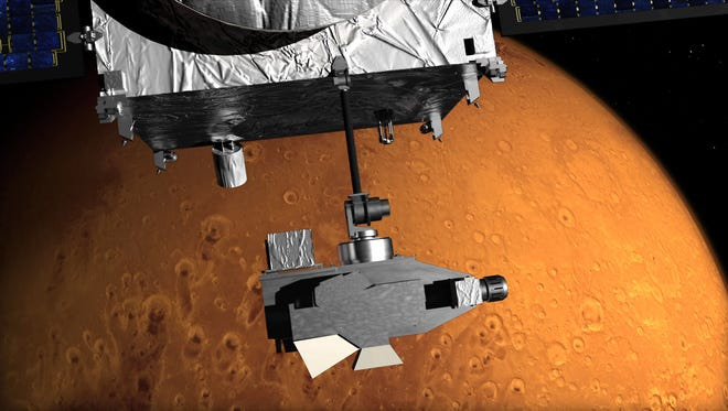 This image shows an artist concept of NASA's Mars Atmosphere and Volatile EvolutioN (MAVEN) mission's APP.